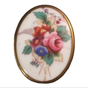 Antique Royal Worchester flower Cameo Ceram brooch
